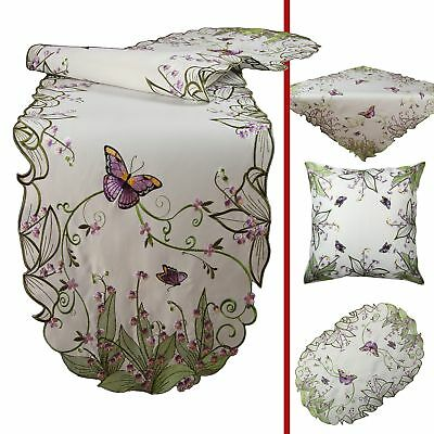 Magnificent Butterfly and purple Flower Embroidery Table runner Tablecloth White