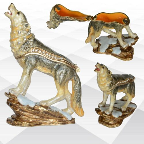 Wolf Animal Hinged Enamel Jewelry Trinket Box With Lid Jeweled Crystals Ornament
