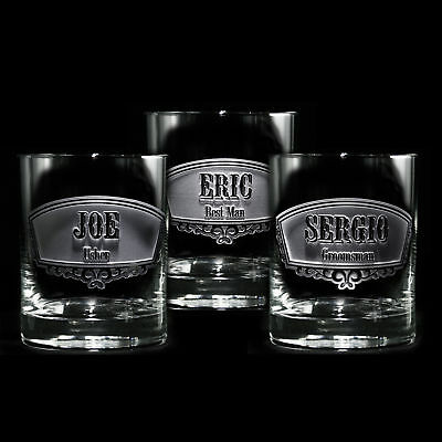 Groomsmen,Engraved Double Old Fashioned Glass, Whiskey, Scotch, Bourbon SET OF 4