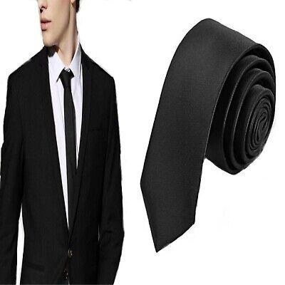 Cravatta Cravattino nera da uomo stretta sottile slim 5 cm donna tinta unita
