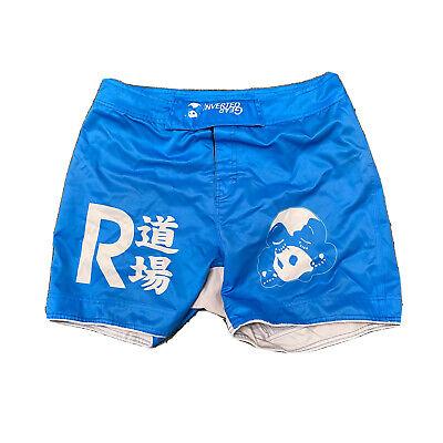INVERTED GEAR Panda Shorts Blue Brazilian Jiu Jitsu MMA Cage Fighting Boxing 32