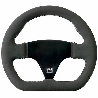 SPA Design D Shape Formula/Race/Single Seat Steering Wheel 255mm - Black Suede