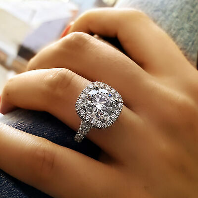 2.60 Ct Round Cut Cushion Halo Split Shank Diamond Engagement Ring I VS1 GIA