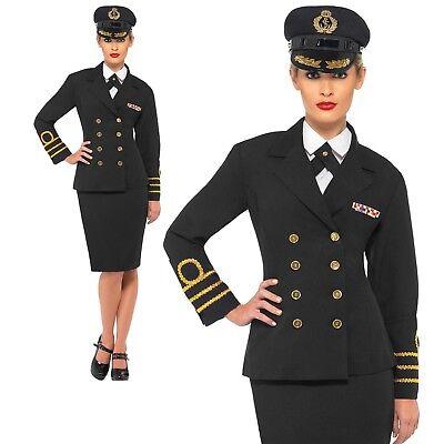 1940s Sailor Costume (WW2 Navy Officer Costume 1940s Sailor Uniform Womens Ladies Fancy Dress)