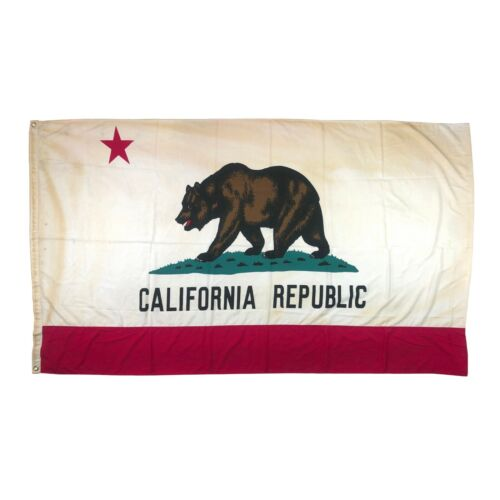 Vintage XL Polyester Tea Stained California Republic Bear State Flag American