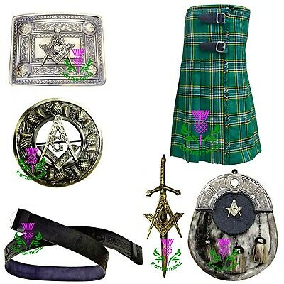 Herren Schottisch Kilt 7.3m 455ml Irisch Grün Tartan Acryl / Kilts Kostüm - Irische Mädchen Kostüm