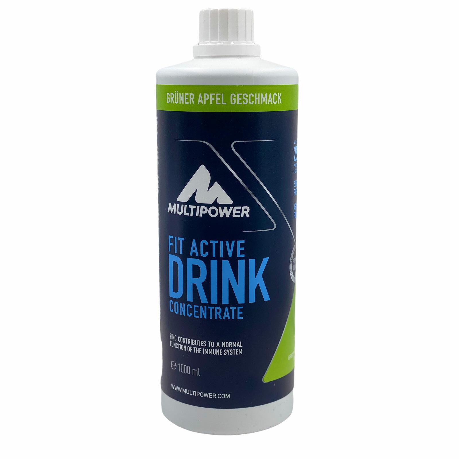 Multipower Fit Active Konzentrat Green Apple 1 Liter für 80l Getränk Sportdrink