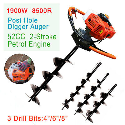 52cc Post Hole Digger Gas Powered Earth Auger Borer Fence Ground Drill W 3 Bits