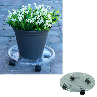 15 Inch Round Clear Plastic Roller Planter Wheel Plant Pot Caddy 1 or 2 Pack