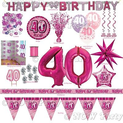 Pink Girl Milestone Special 40th Age 40 Birthday Party Supplies Decorations (40th Birthday Party Supplies)