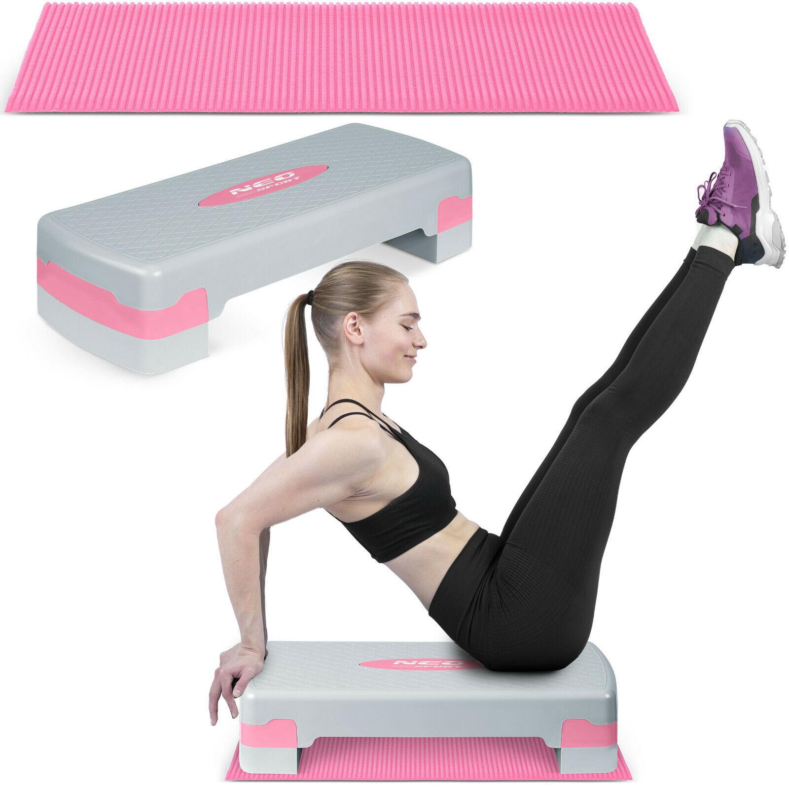 Aerobic Steppbrett Fitness KOSTENLOS Antirutsch-Matte 2-Höhen Neo-Sport