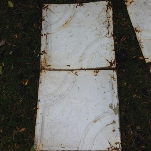 """Antique Shabby Chic 10 tiles 24"""" Tin Ceiling Tile Panel Vtg White Metal 2"""