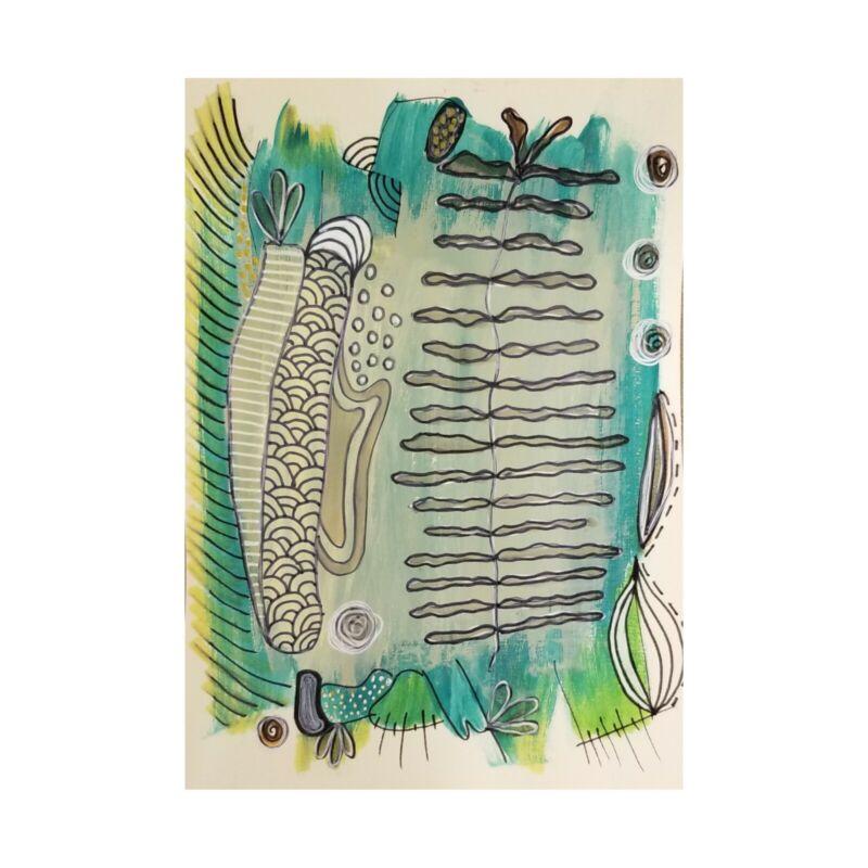"NEW! Signed Original | folk doodle zentangle | 5"" x 7"" painting | MiTaK Art"