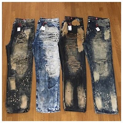 Brand New Big & Tall Mens Size 48 Fashion Denim Moto Rips Acid Wash Jeans Pants