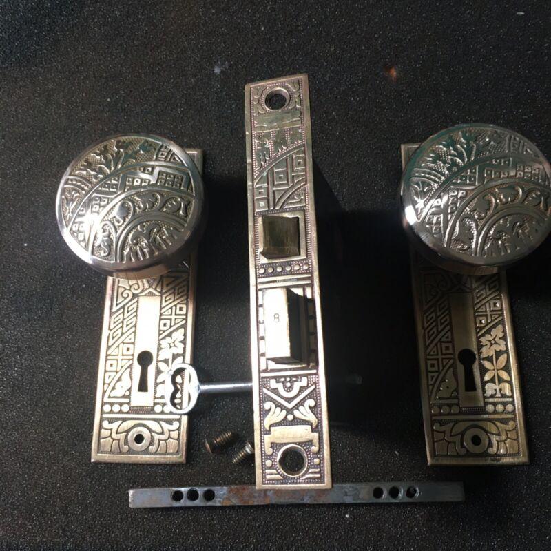 Antique Victorian  Brass Corbin Ceylon Eastlake Lockset & Skeleton Key