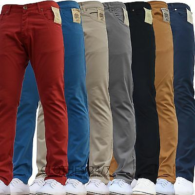BNWT NEW MENS ENZO SKINNY SLIM FIT CHINOS JEANS PANTS TROUSERS ALL WAIST SIZES