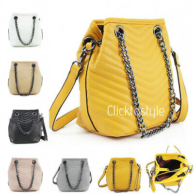 Fully Lined Ladies Bucket Style Quilted Shoulder Bag Chain & Crossbody Strap 922