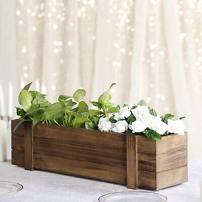 Planter Boxes Diy (24x6'' Rectangle Wood Boxes DIY Rustic Wooden Planter Boxes With Plastic)