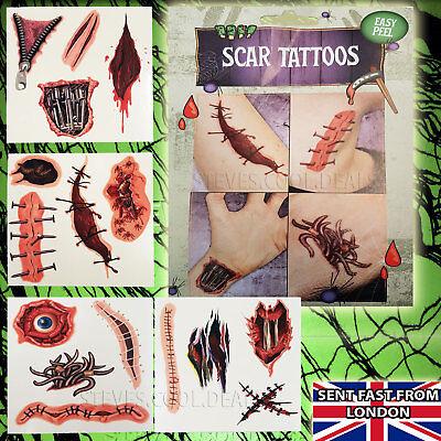 16 TEMPORARY HALLOWEEN TATTOOS SCAR HORROR BLOOD CUTS GUTS BONE CREEPY EASY PEEL (Halloween Creepy Skin)