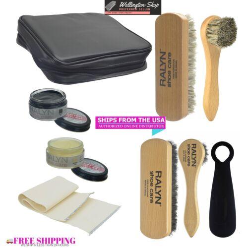 8 pc. Shoe  Shine Kit With Pouch Travel Size Shoe Polish Shine Brushes Buffing