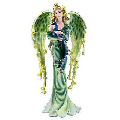 Peacock Fairy Angel Figurine With Feather Wings 9.25