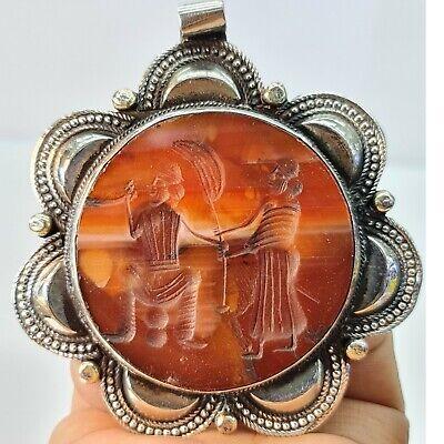Lovely silver pendant near eastern agate intaglio stone  #143