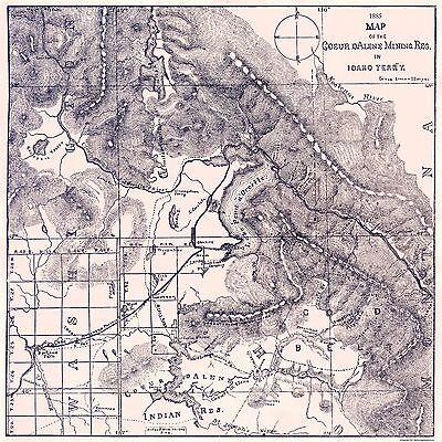 Old Mining Map   Coeur Mining Region Idaho   1885   23 X 23