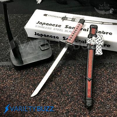 """8"""" JAPANESE SAMURAI SABRE SWORD LETTER OPENER KNIFE w/ Desk Stand NEW Burgundy"""