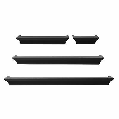 Set Of 4 Wall Mount Shelf Floating Display Home Decor Black Shelves Furniture