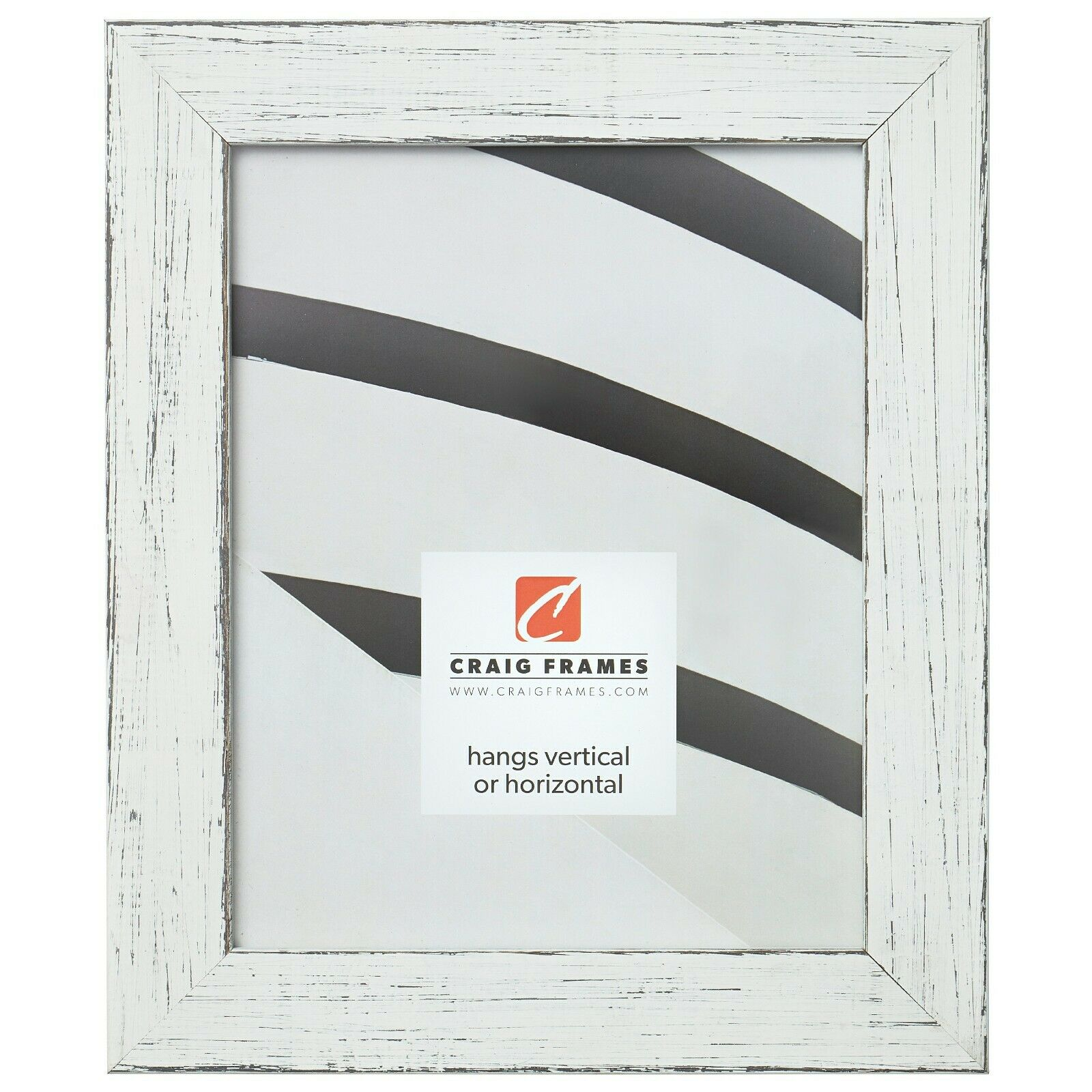 "Craig Frames Jasper, 1.5"" Distressed White Picture Frame Pos"