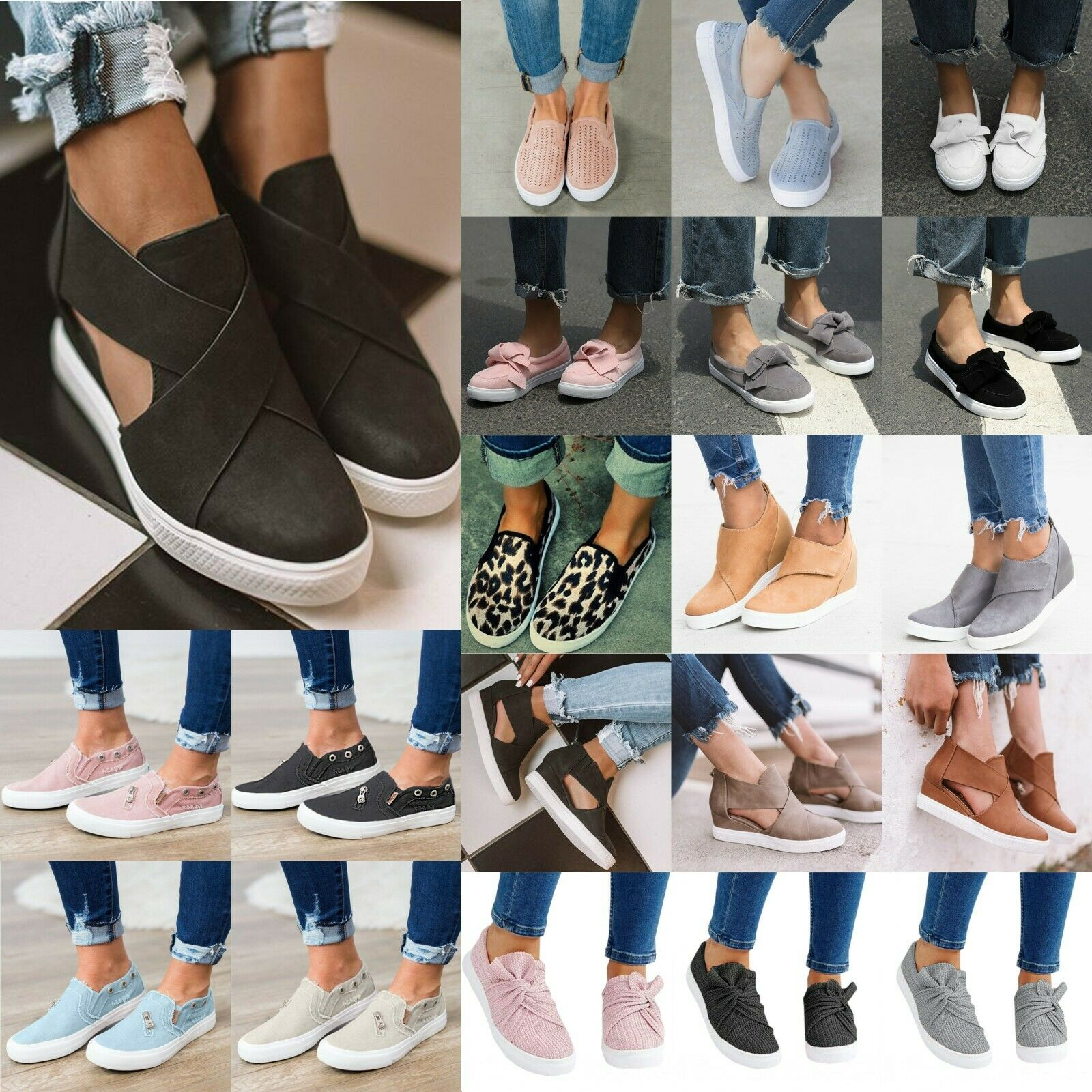 Women Lady Casual Flats Comfort Plimsolls Slip On Loafers Sneakers Pumps Shoes 1