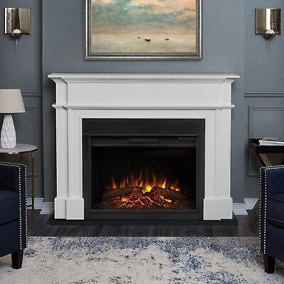 Real Flame Electric Fireplace Harlan Grand Infrared X-Lg Firebox White ()