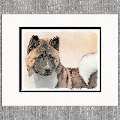 Akita Dog Original Art Print 8x10 Matted ...