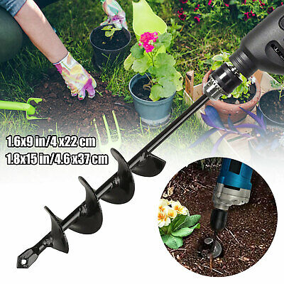 "9""/15'' Planting Auger Spiral Hole Drill Bit For Garden Yard Earth Bulb Planter"