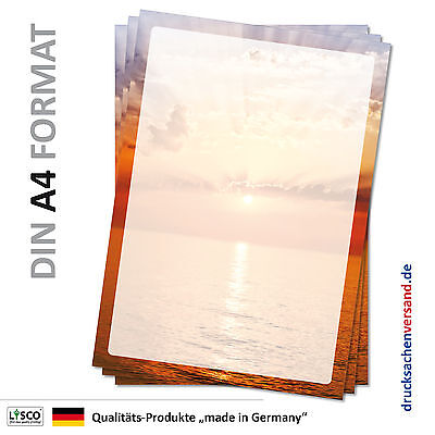 Motivpapier Briefpapier (Meer-5057 A4 25 Blatt) Sonnenuntergang Himmel Wasser