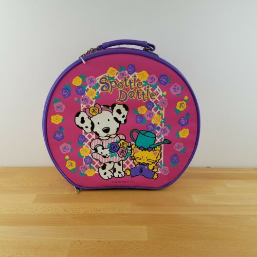 1998 Sanrio Spottie Dottie Round Suitcase Overnight Luggage PInk Purple