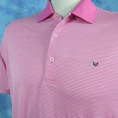 Fennec Fox Highly Evolved Mens Xl Golf Shirt Flamingo Pink White Stripes Mesh