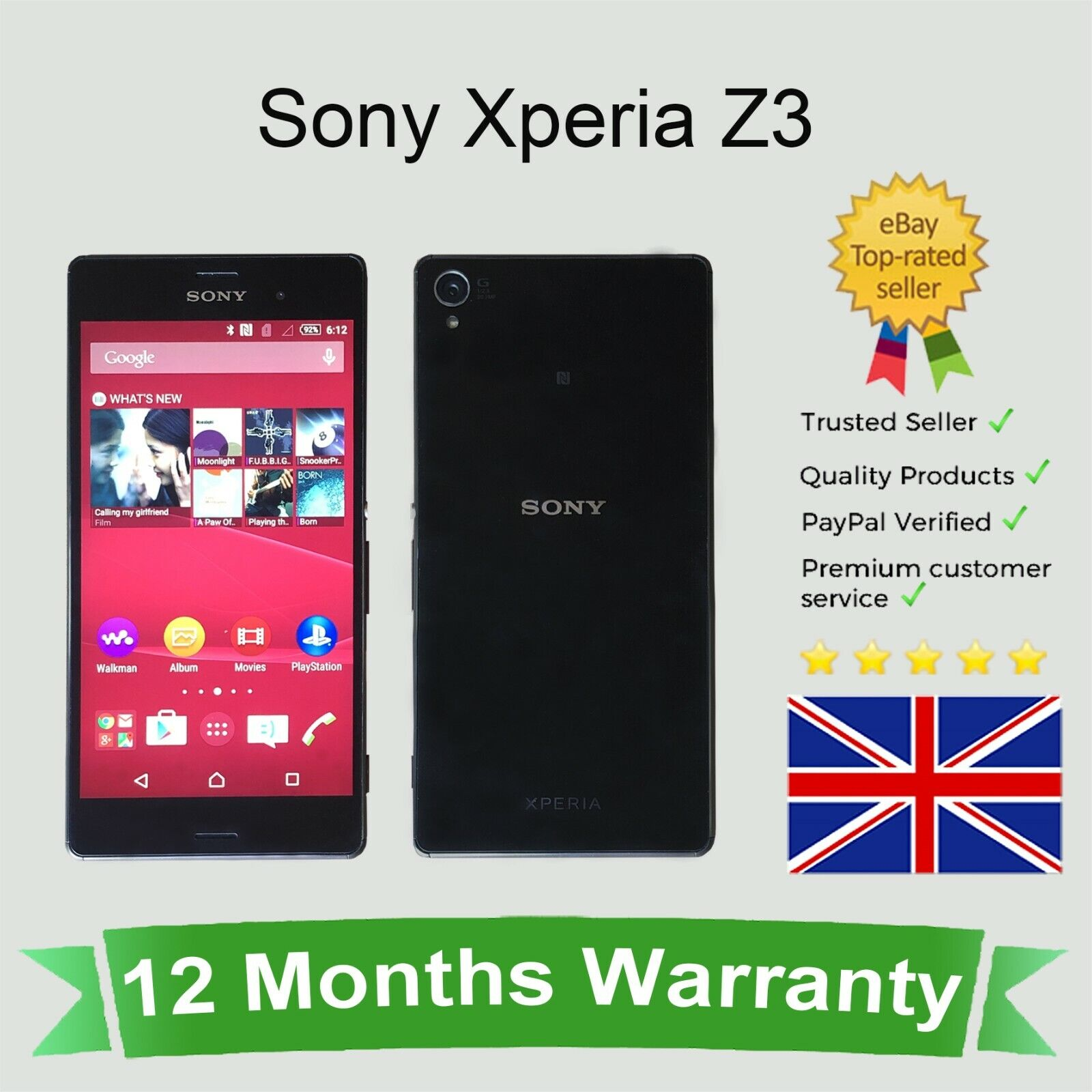 Android Phone - Unlocked Sony Xperia Z3 Android Mobile Smart Phone D6603 16GB Black SIM FREE