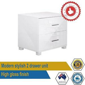 High Gloss Two Drawers Bedside Table Cabinet Lamp Side Nightstand Paddington Eastern Suburbs Preview