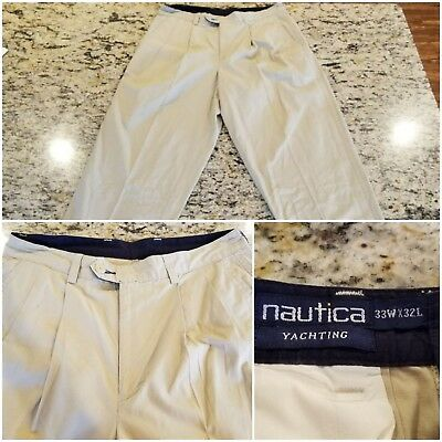 Nautica Men Yachting Khaki Dress Pants size 33Wx 32L Pleated ~EUC~ B