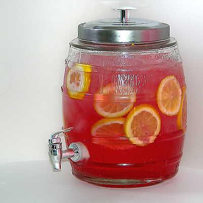 5l Glasfass, Getränkespender für Cocktail Bowle, Saftspender Set, Saft Dispenser