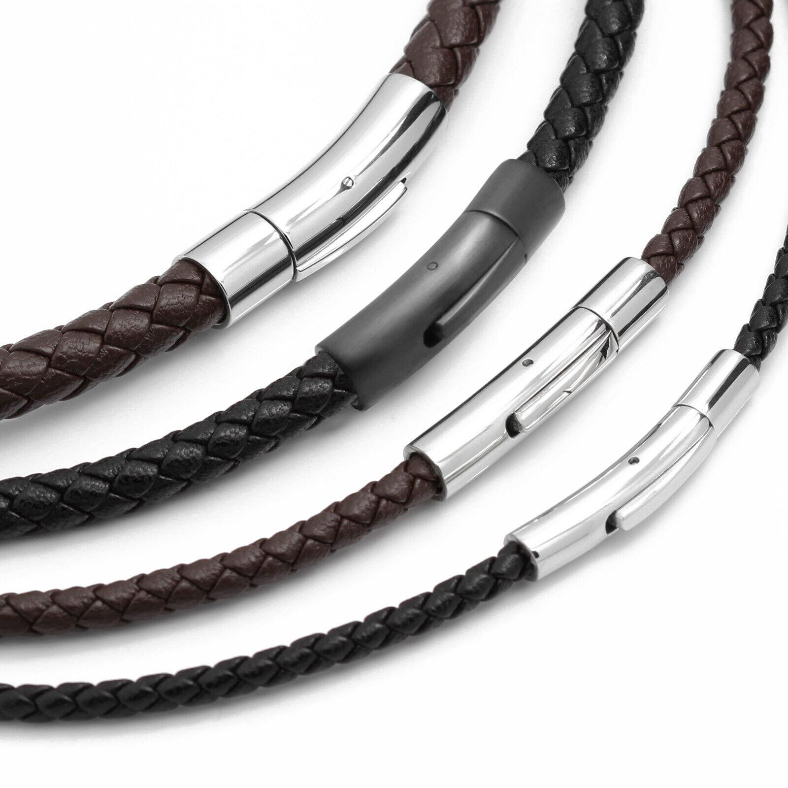Geflochten Leder Armband Halskette Herren Damen Edelstahlverschluß Ø3-8mm