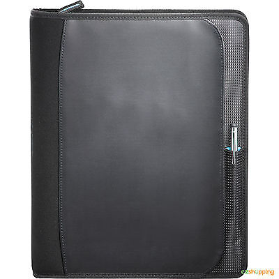 Black Planner Zoom Business Office Organize 2-in-1 Tech Sleeve Zip Padfolio