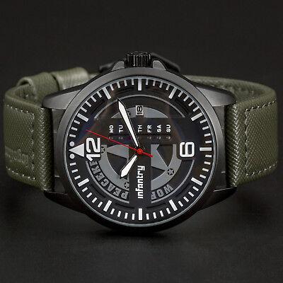 INFANTRY Herren Uhr Militär Armbanduhr Männer Groß Leder Grün Sport Outdoor Großes Armband