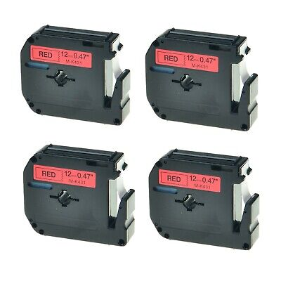 4pk M-k431 M431 Black On Red 0.47 Label Tape For Brother P-touch Pt-65 Pt-65sb