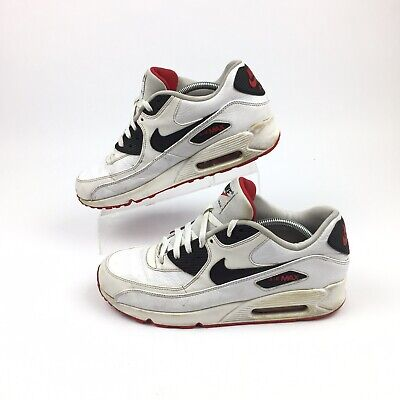 Nike Air Max 90 Leather OG Mens Athletic Shoes White Red 652980-100 Size 11 ()