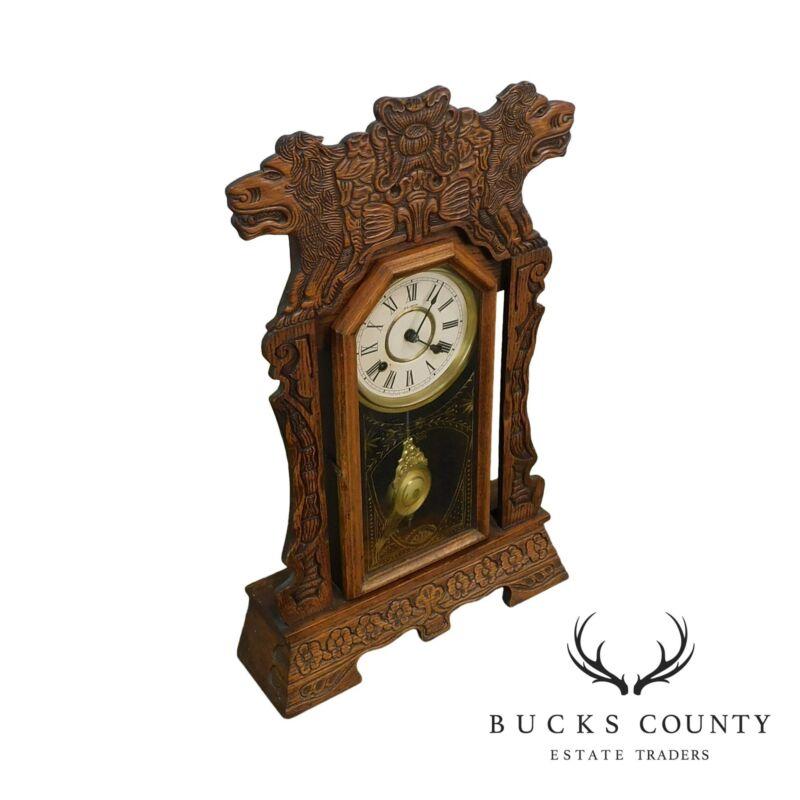 New Haven Antique Lion Carved Oak Gingerbread Kitchen Clock