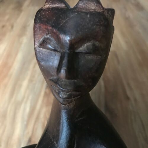 """Vintage Statue """"UNITY"""" Trinity African Art Sculpture  Wood ,Carving, cultural"""