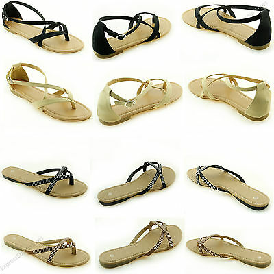 Women's Sandals New Gladiator Flat T-Strap Thong Style Flip Flops Shoes Toe Size Flip Flops New Thong Sandals