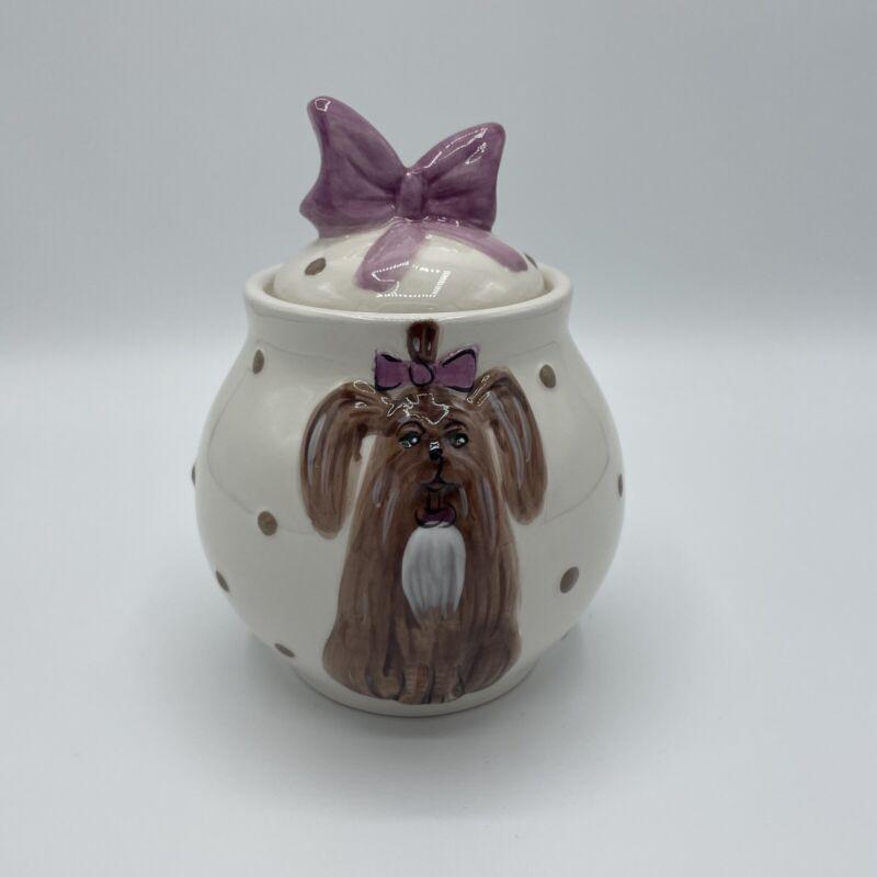 Shih Tzu Ceramic Treat Jar, 2009 Sky Blue Clayworks, Dog cookie jar, biscuit jar